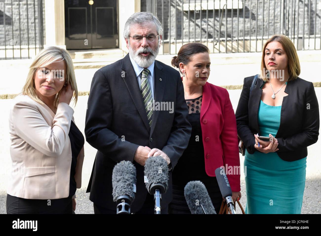 London, UK. 15th June, 2017. (L to R) Michelle O'Neill, leader of Sinn Féin, Gerry Adams, President, Mary - Stock Image