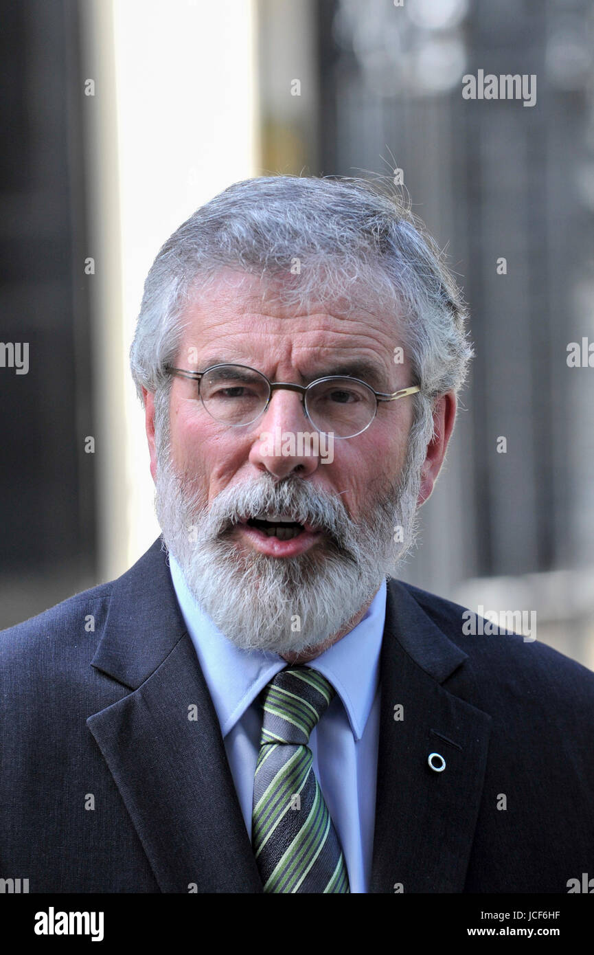 London, UK. 15th June, 2017. Gerry Adams, President Sinn Féin, gives a press conference outside Number 10. - Stock Image