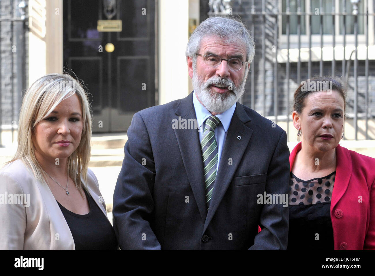 London, UK. 15th June, 2017. (L to R) Michelle O'Neill, leader of Sinn Féin, Gerry Adams, President, and - Stock Image