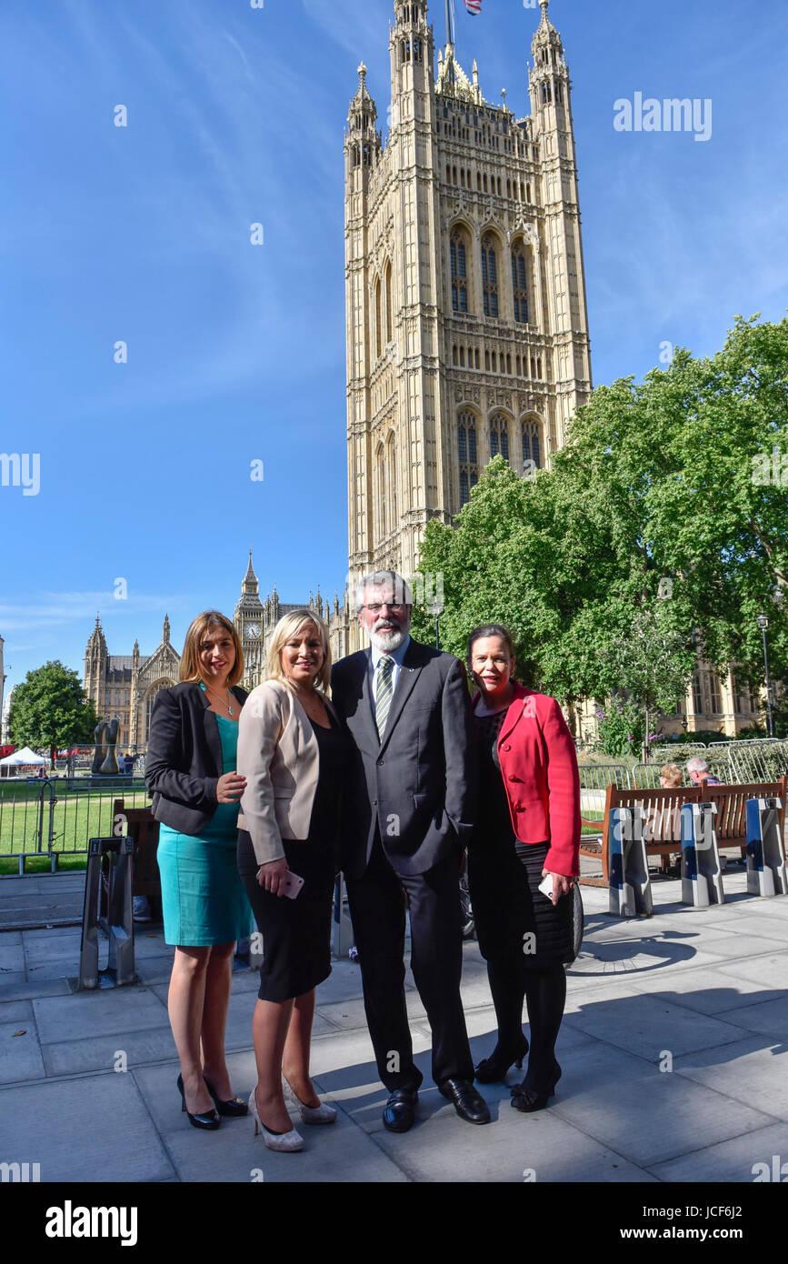 London, UK. 15th June, 2017. (L to R) Elisha McCallion, Michelle O'Neill, leader of Sinn Féin, Gerry Adams, - Stock Image