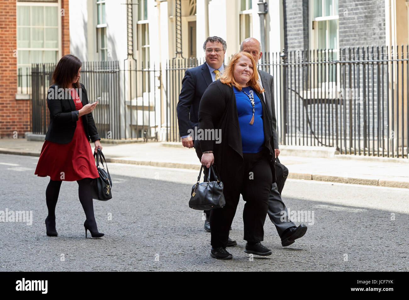 London, UK. 15th June, 2017. Members of the Alliance Party of Northern Ireland seen in Downing Street after meeting - Stock Image