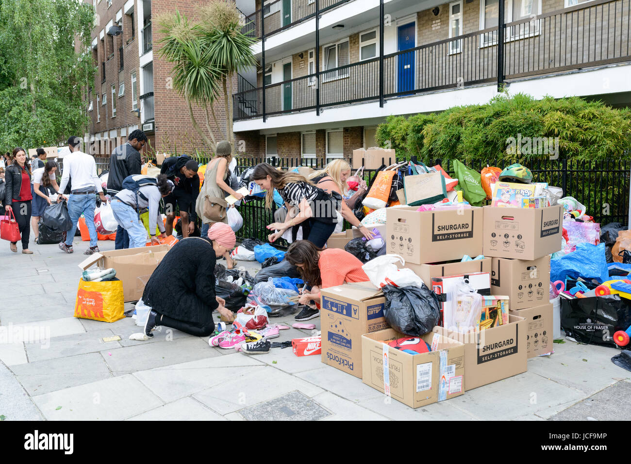 London, UK. 15th June, 2017. Volunteers sorting donations for the residents of Grenfell Tower who lost everything Stock Photo
