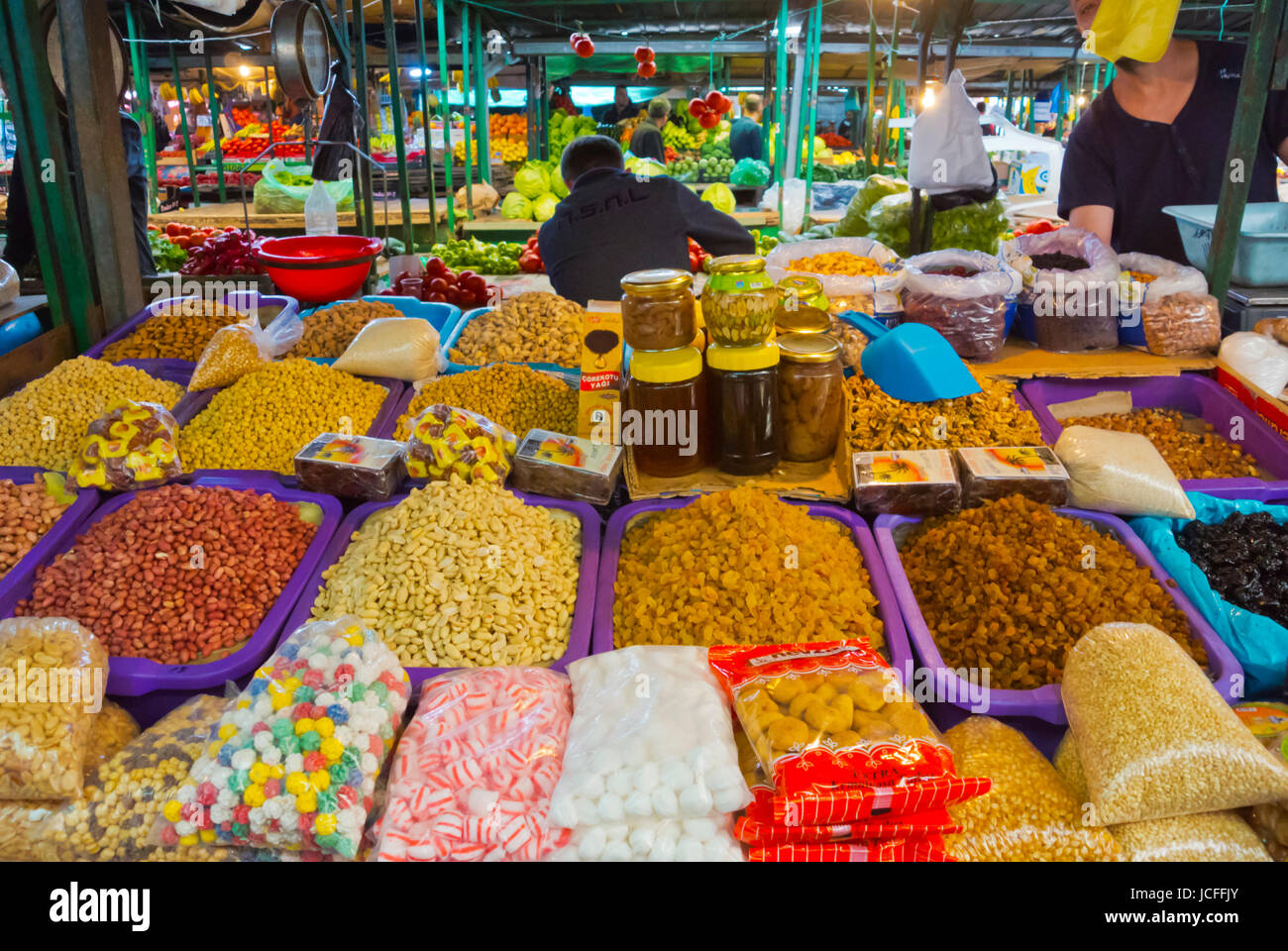 Nuts and dried fruit, Bit Pazar, covered market, Skopje, Macedonia - Stock Image