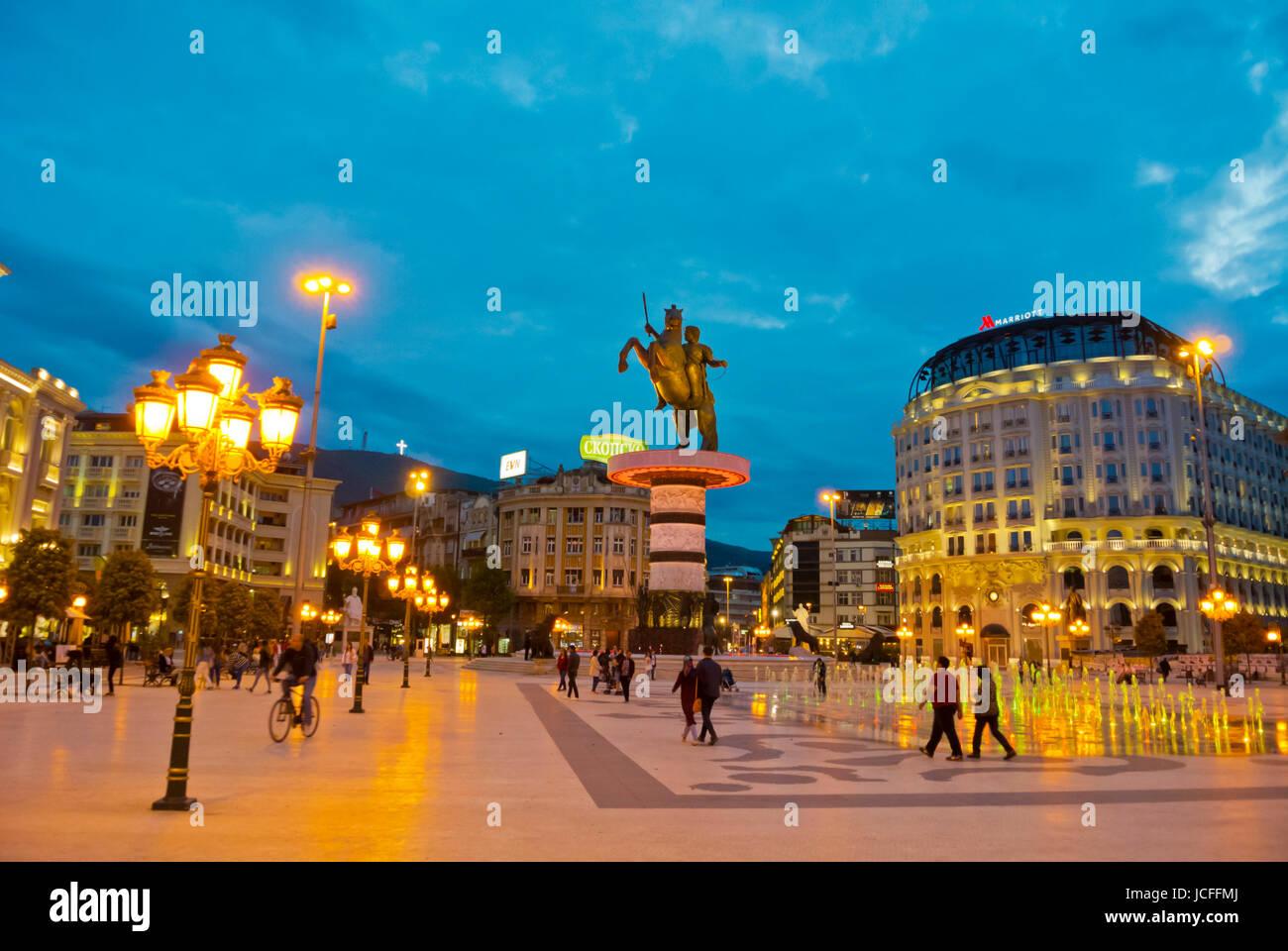 Plostad Makedonija, Macedonia square, Skopje, Macedonia - Stock Image