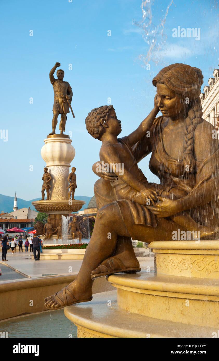 Statues of Skopje 2014 project, with Philip of Macedon warrior statue in background, Plostad Karposovo Vostanie, - Stock Image