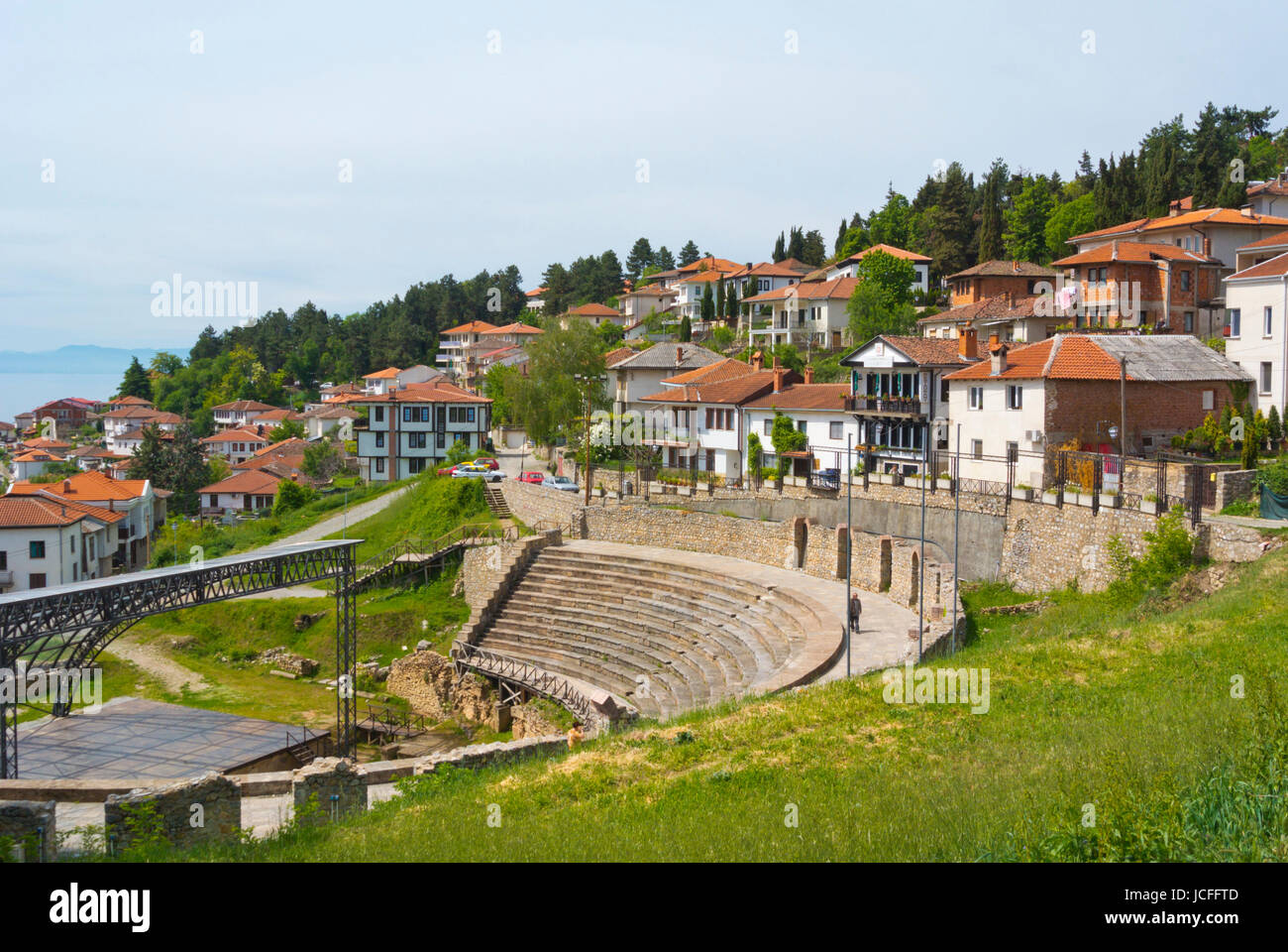 Roman era amphitheatre, from from 200 bc, in Hellenistic style, old town, Ohrid, Macedonia Stock Photo