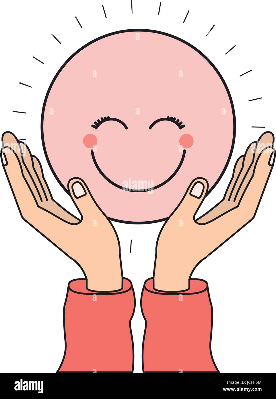 colorful silhouette hands with floating pink circular happy face smiling - Stock Vector