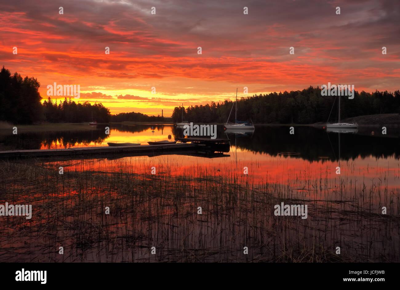 Beautiful sunrise,Finland! - Stock Image
