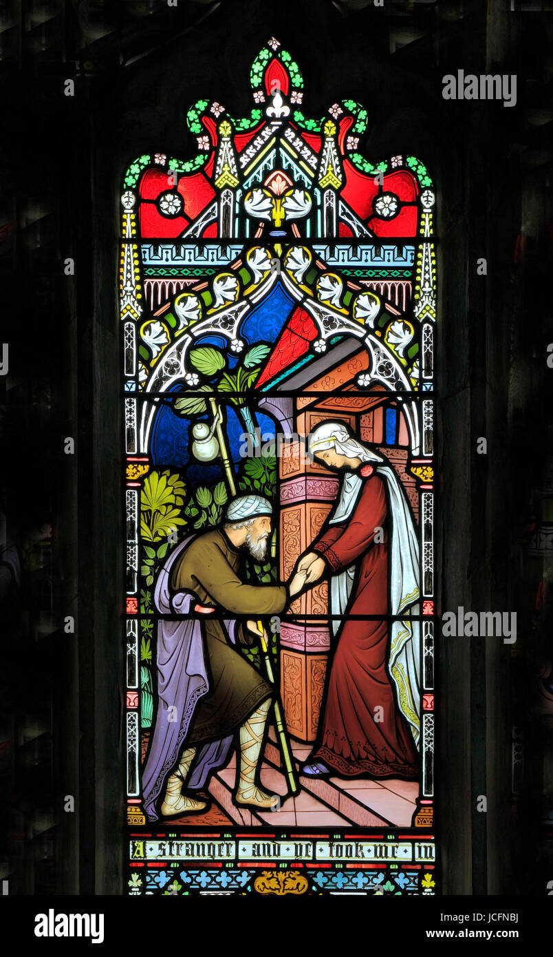 Corporal Acts of Mercy window, stained glass by Frederick Preedy, 1868,  sheltering the homeless, Gunthorpe, Norfolk, - Stock Image