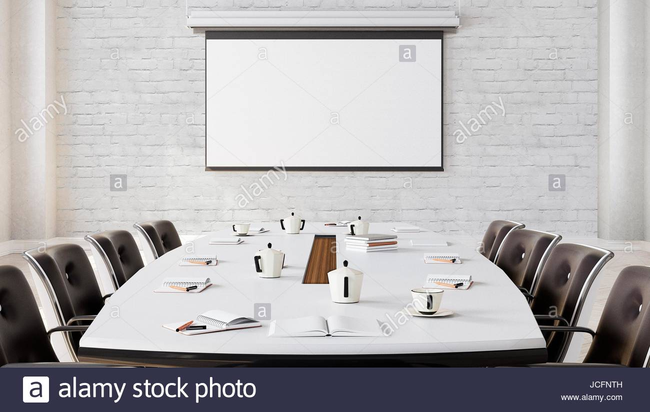 Modern Meeting Room with projector screen 3D illustration Stock ...