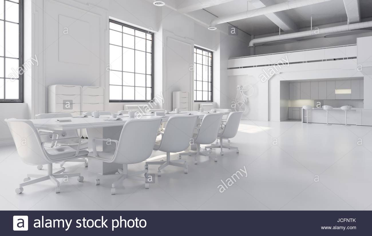 White office space, meeting room table with kitchen area 3D Stock ...