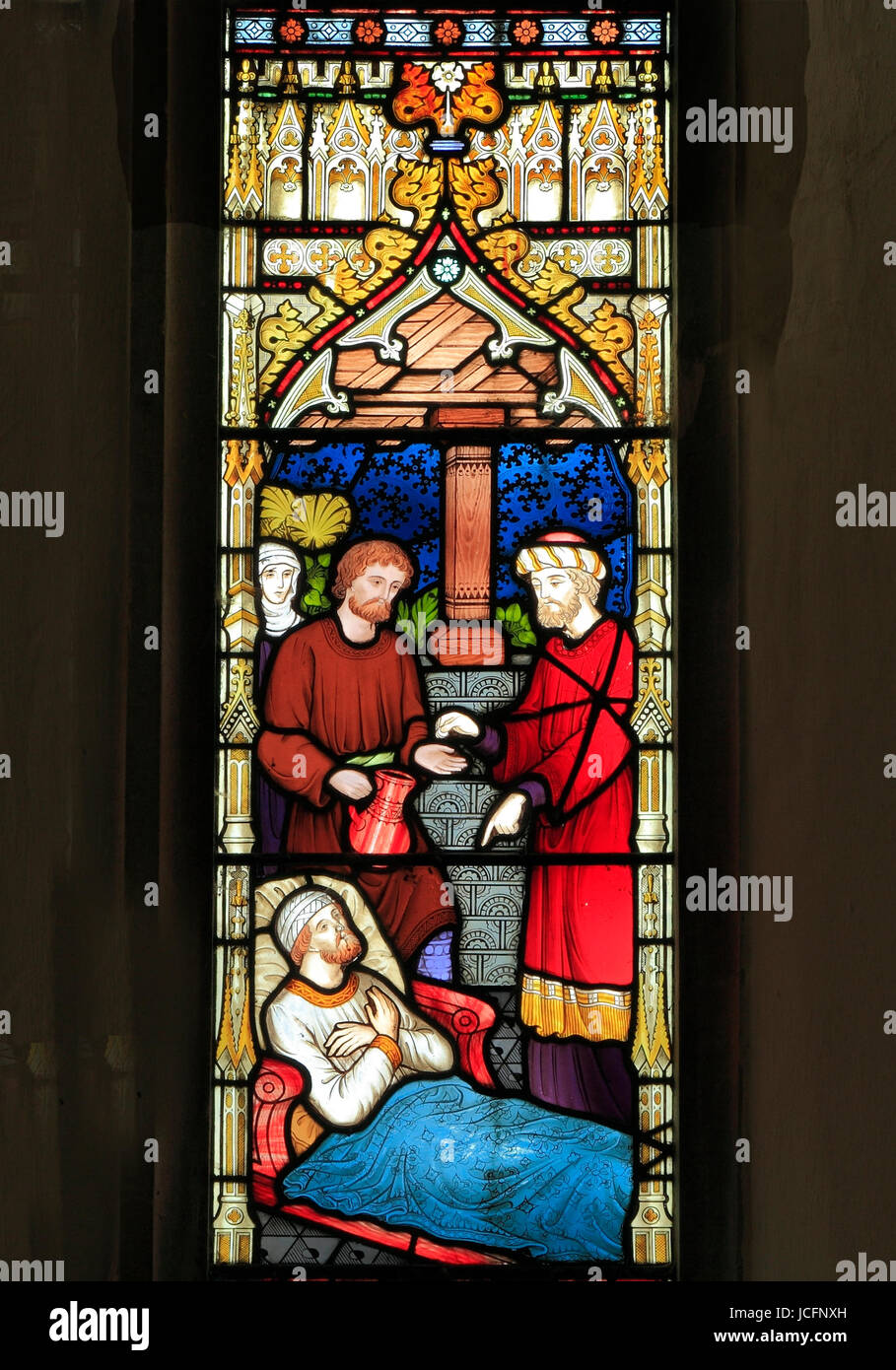 Parable of The Good Samaritan, stained glass by Frederick Preedy, 1865, Samaritan pays Innkeeper to care for the - Stock Image