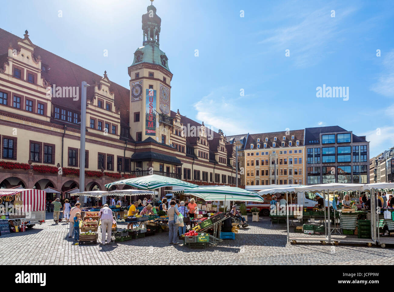 Market in the Markt (Market Square) in front of the Altes Rathaus (Old Town Hall), Leipzig, Saxony, Germany - Stock Image