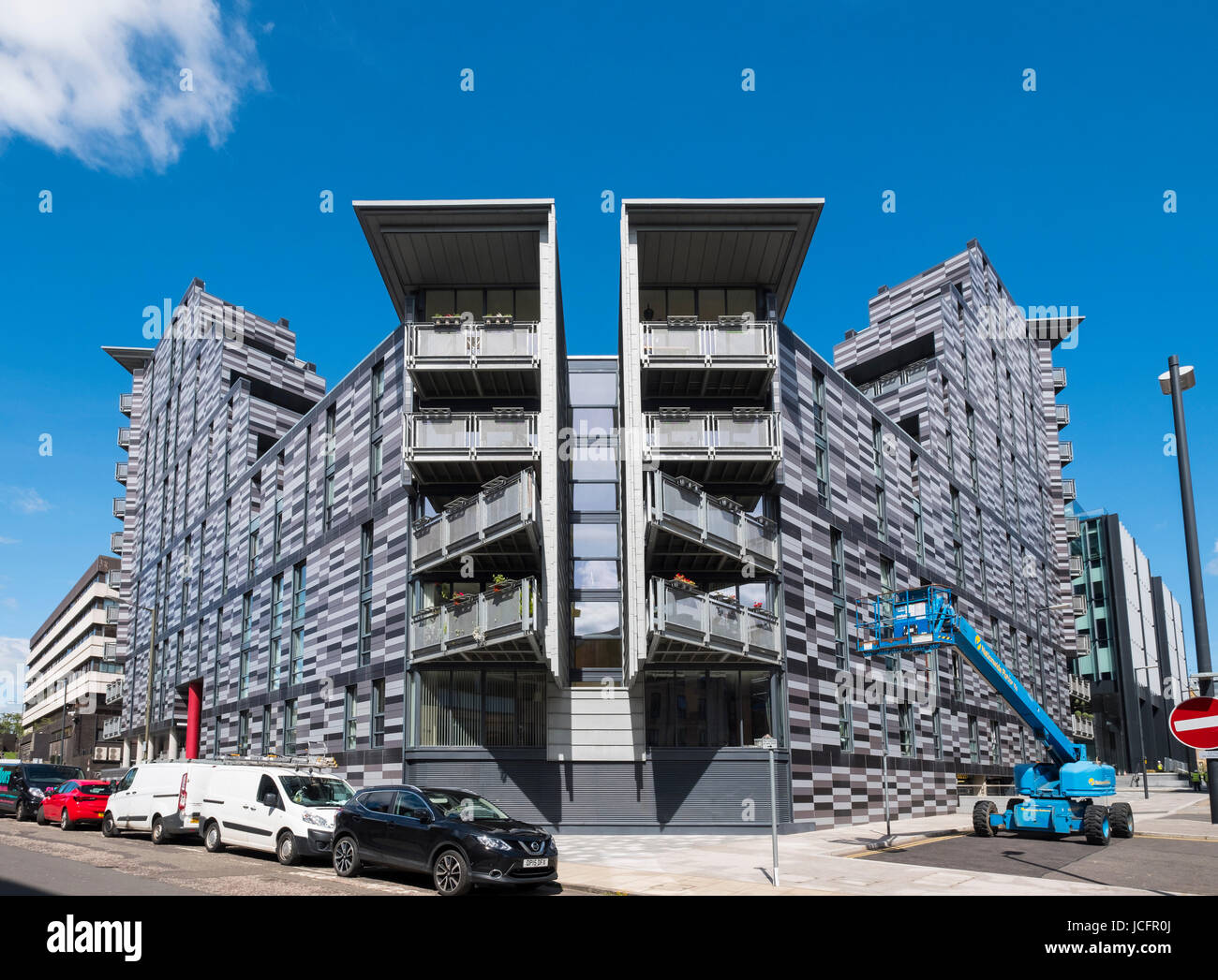 Exterior of Wharton Square new affordable housing in Edinburgh, Scotland, United Kingdom. - Stock Image
