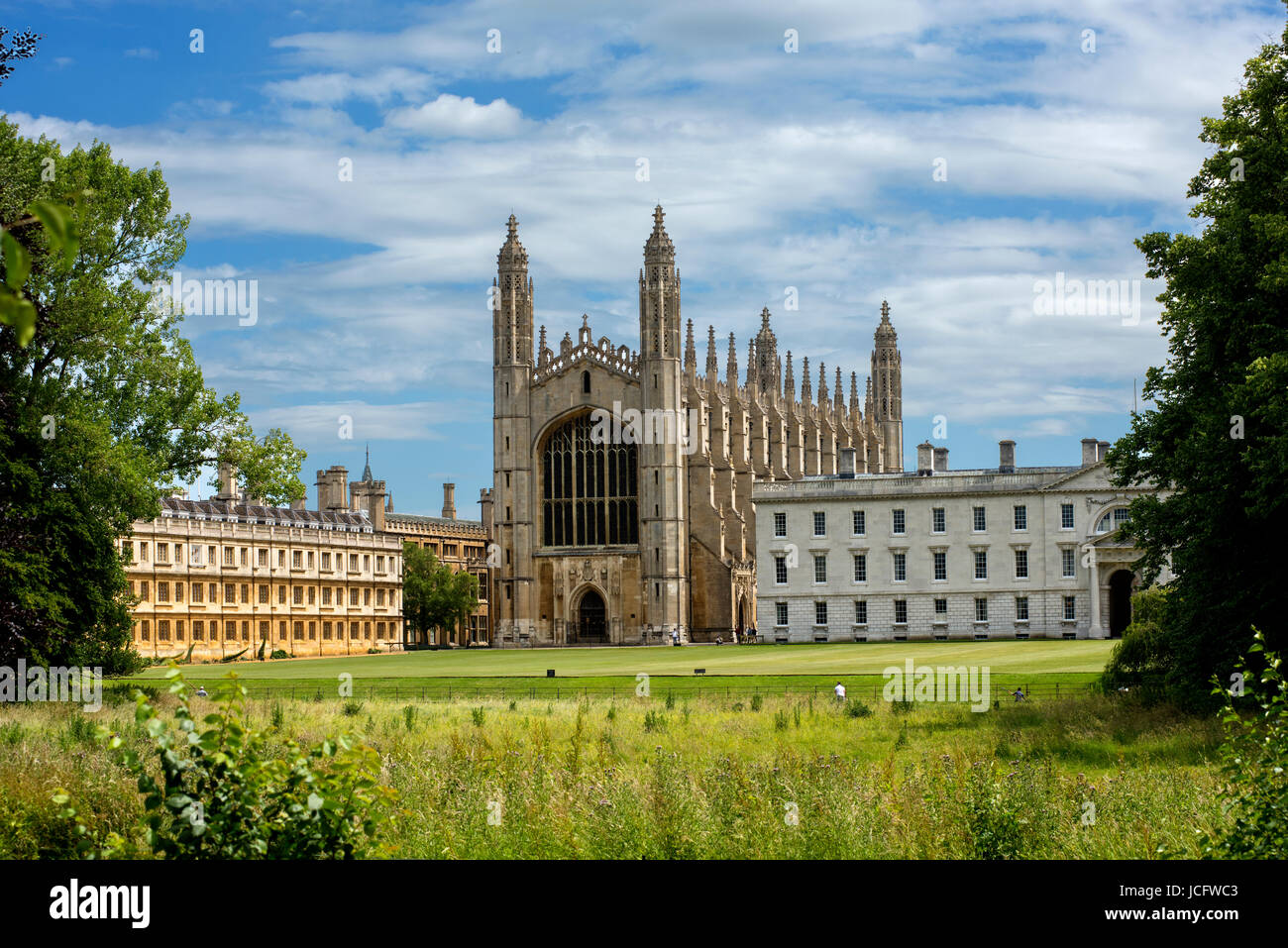 Cambridge, Cambridgeshire, England UK. King's College viewed across the River Cam from the backs in Cambridge. - Stock Image