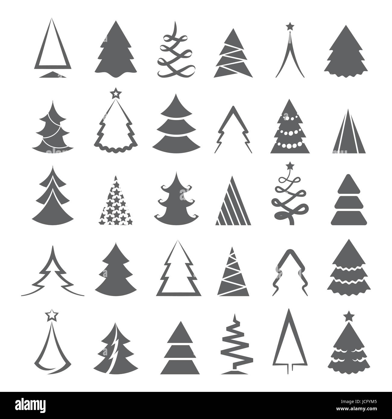 Simple christmas tree icons isolated on white background
