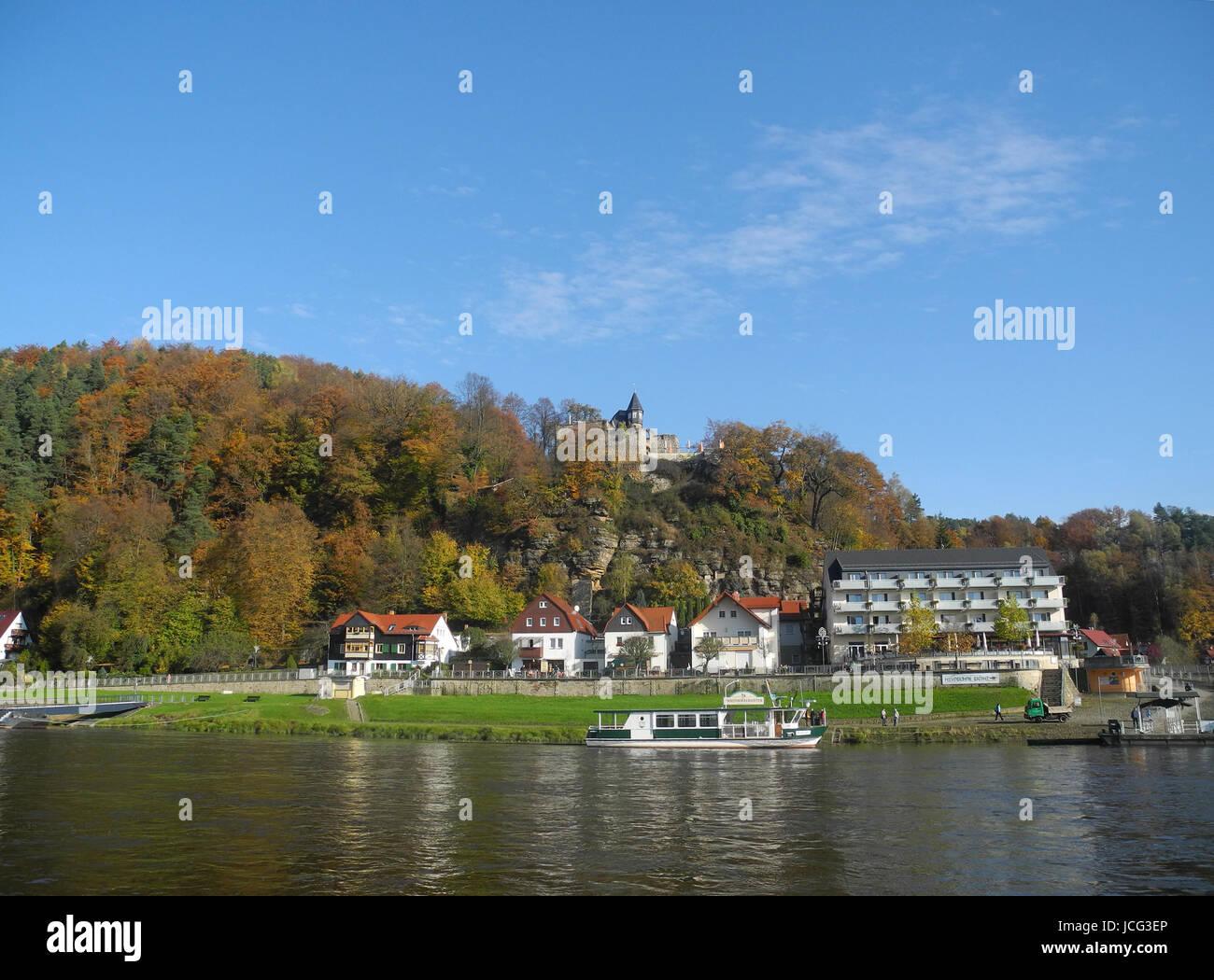 Kurort Rathen, rathen, oberrathen, elbe, elbsandstein, elbsandsteingebirge, sächsische schweiz, burg, sachsen, - Stock Image