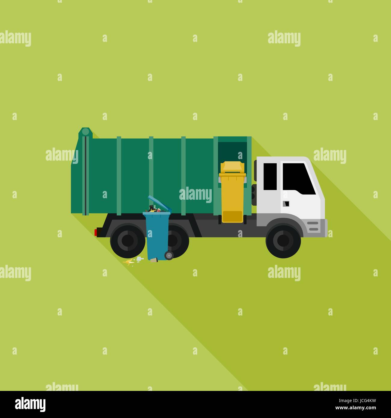 Garbage truck with long shadow - Stock Vector