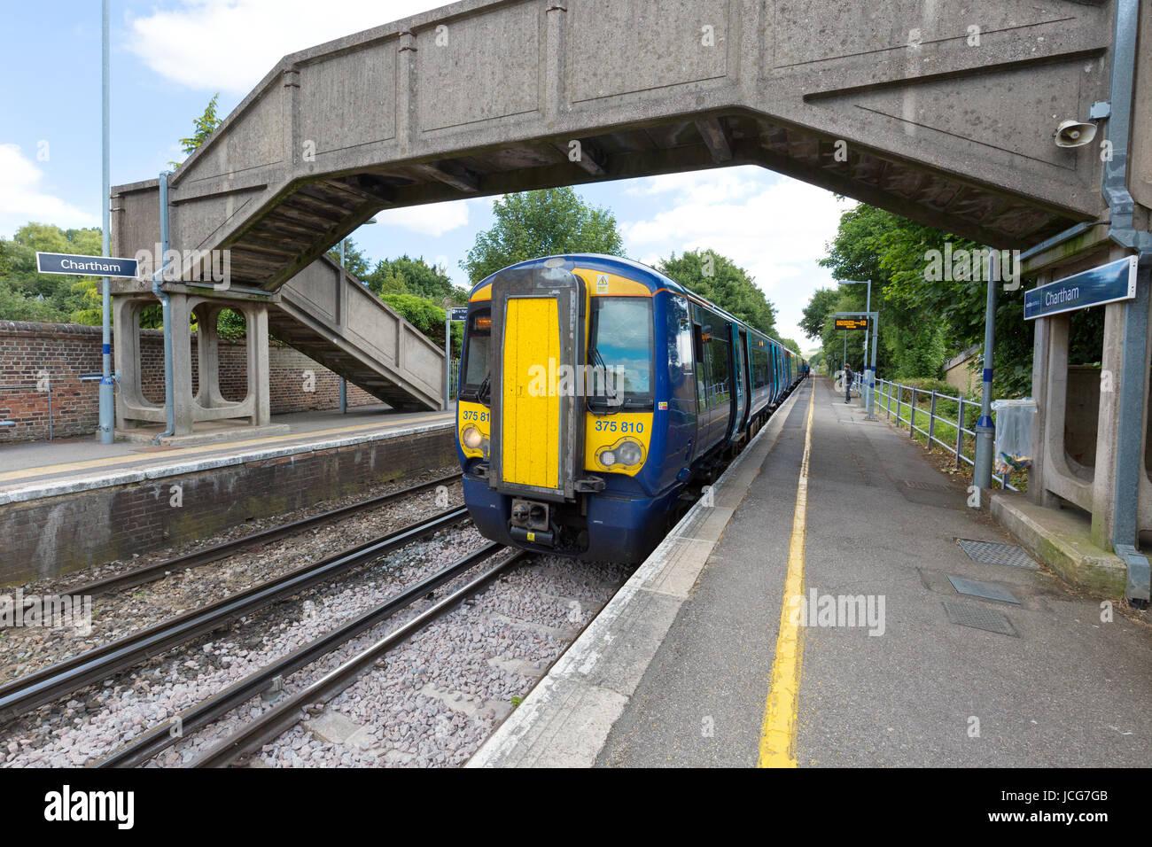 A train in Chartham village station, Chartham, Canterbury, Kent UK - Stock Image