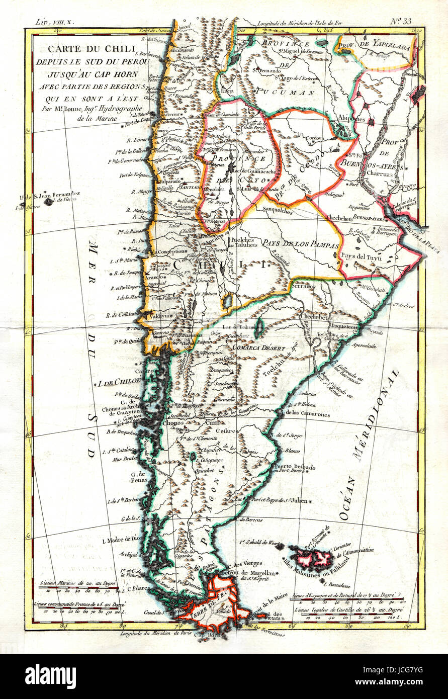 Colonial South America Map.1779 Bonne Map Of The Southern Cone Of South America Showing Stock