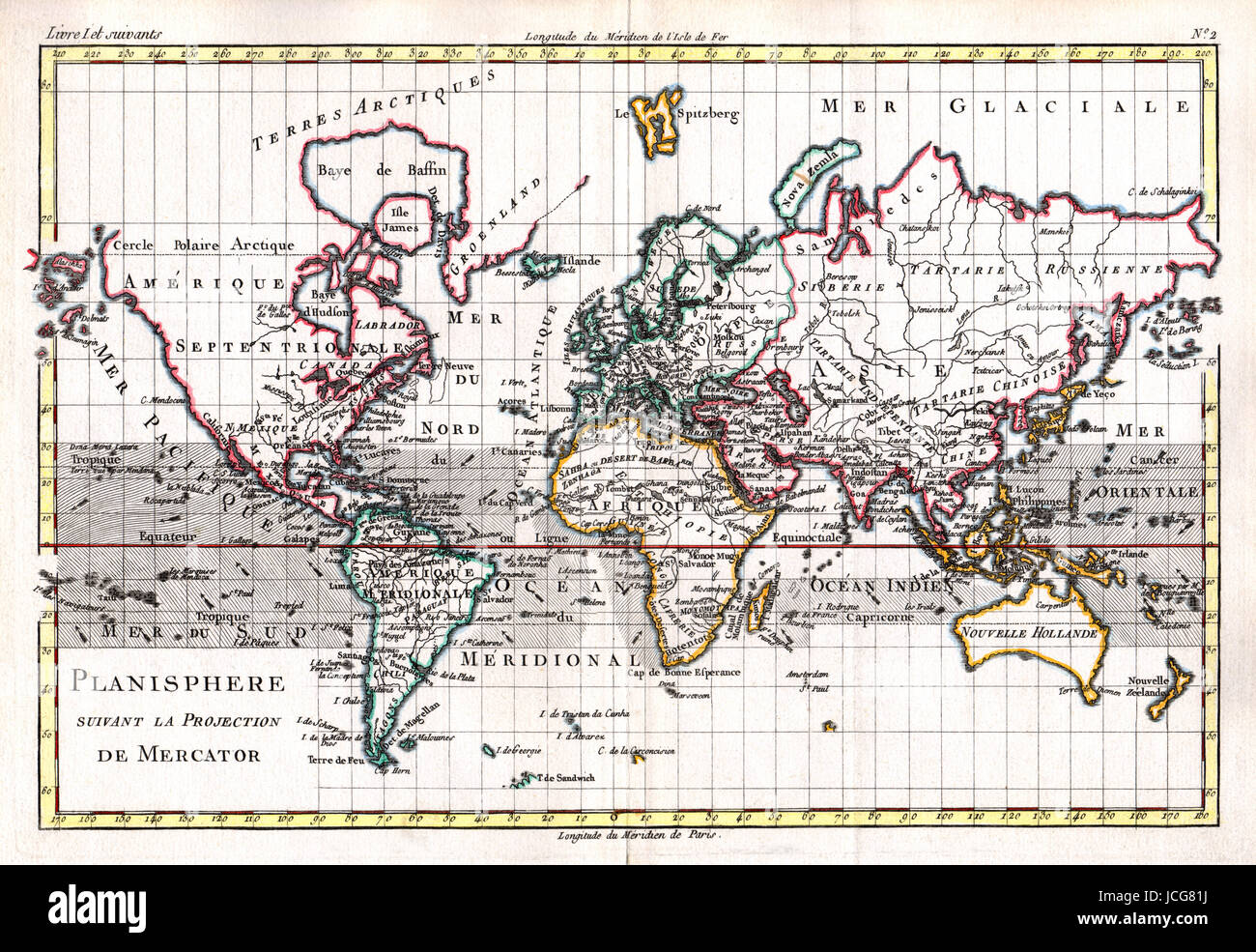 1779 Bonne Map of the World on Mercator's Projection, an example of French Cartography, hand colored. - Stock Image