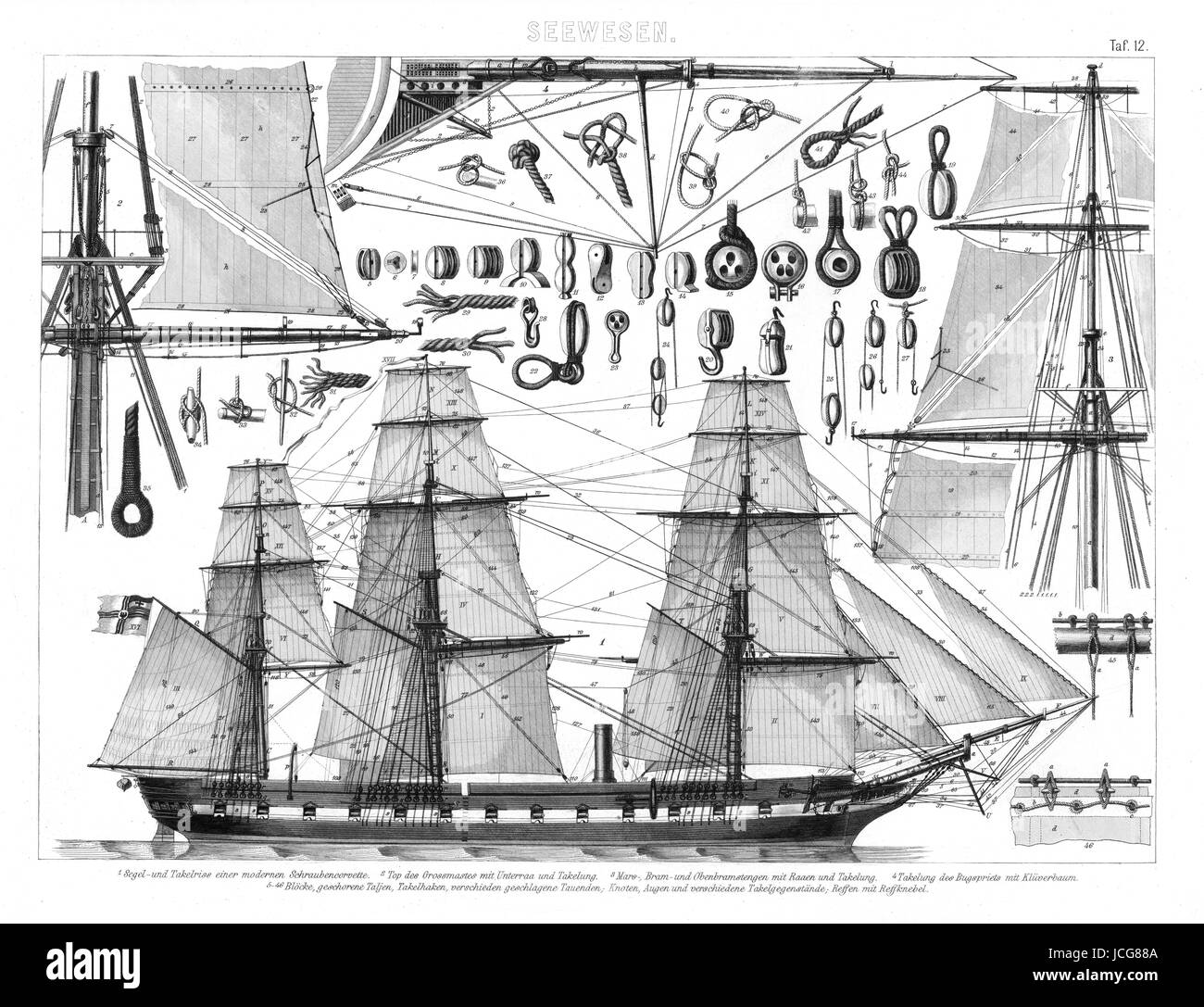 1874 Antique Bilder Print of a steam powered corvette class warship with a focus on the ship's rigging along - Stock Image