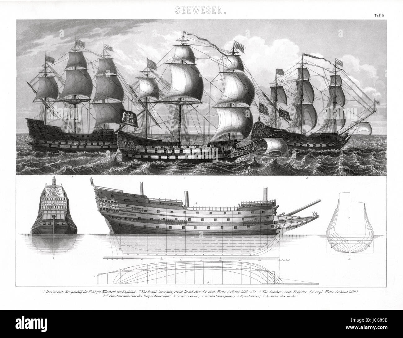 1874 Bilder Print of the Greatest Ships in the English Navy during the era of Queen Elizabeth I,  including the - Stock Image