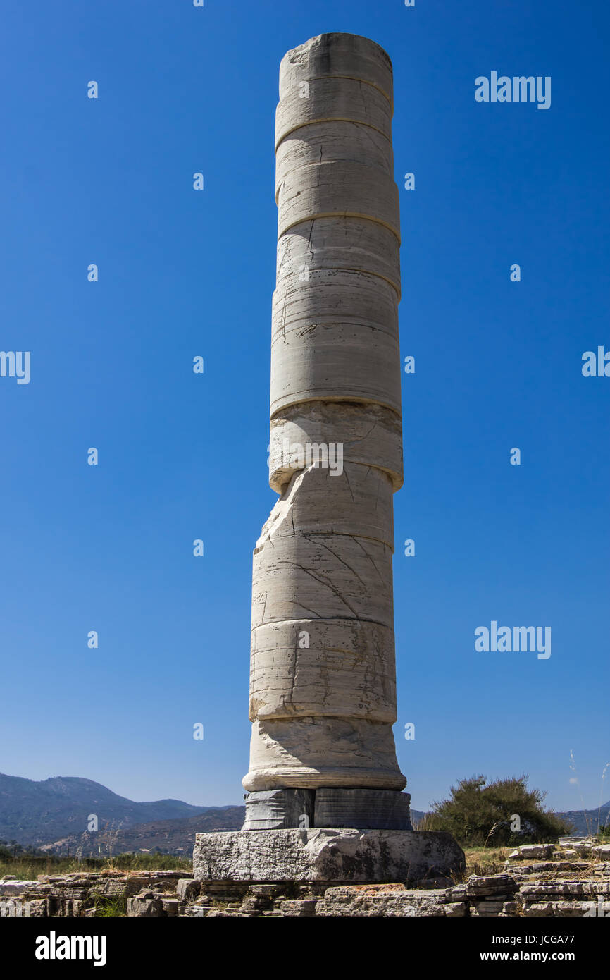 The column from the large sanctuary to the goddess Hera, UNESCO World Heritage Site Stock Photo