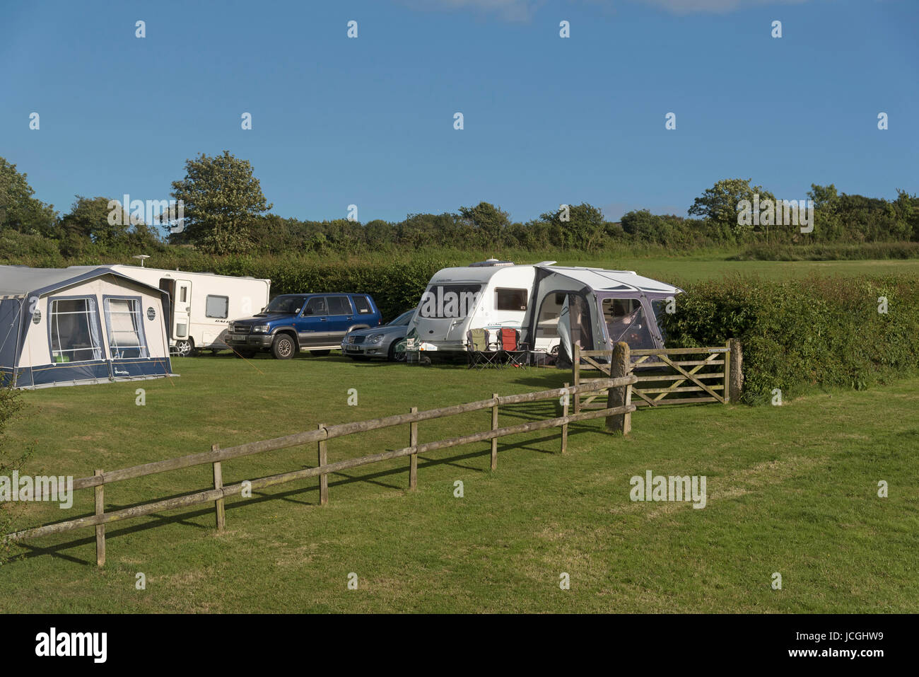Campsite on farmland in the Dorset countryside England UK. June 2017 - Stock Image