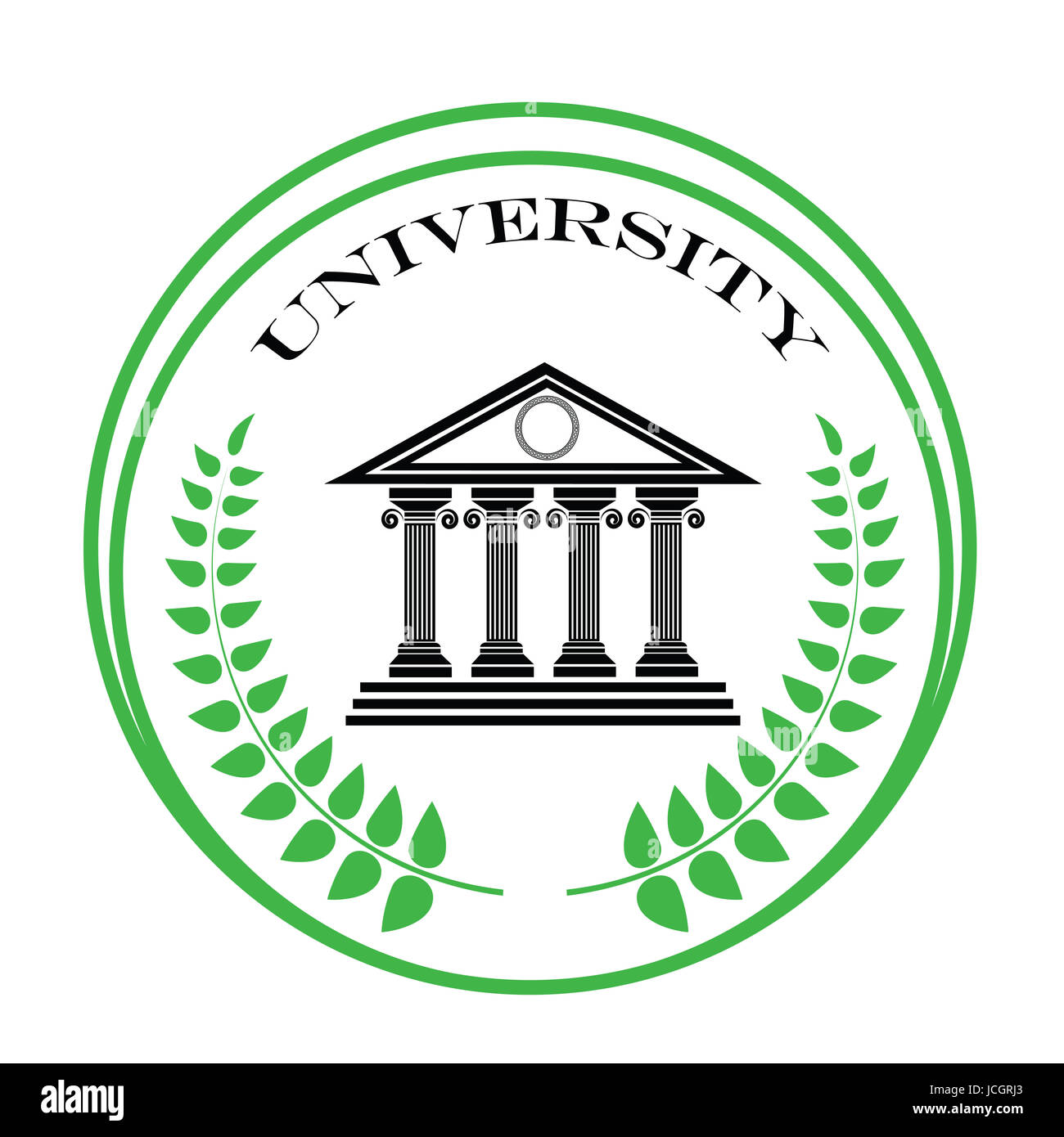 colorful illustration with university symbol on a white background Stock Photo