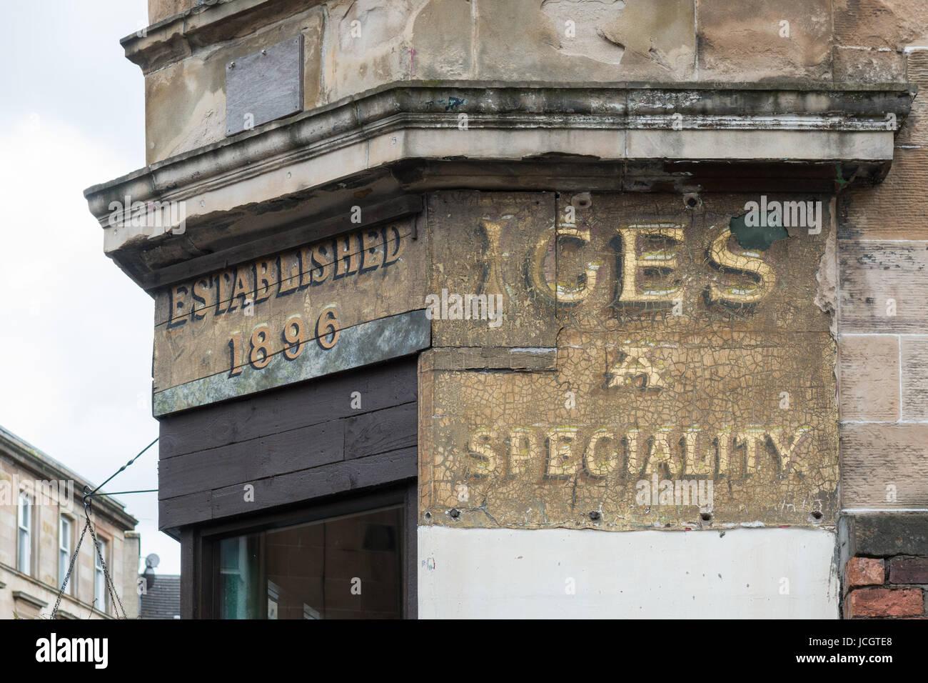 Old shop signage - Kelvingrove Cafe, Finnieston, Glasgow, Scotland, UK - Stock Image