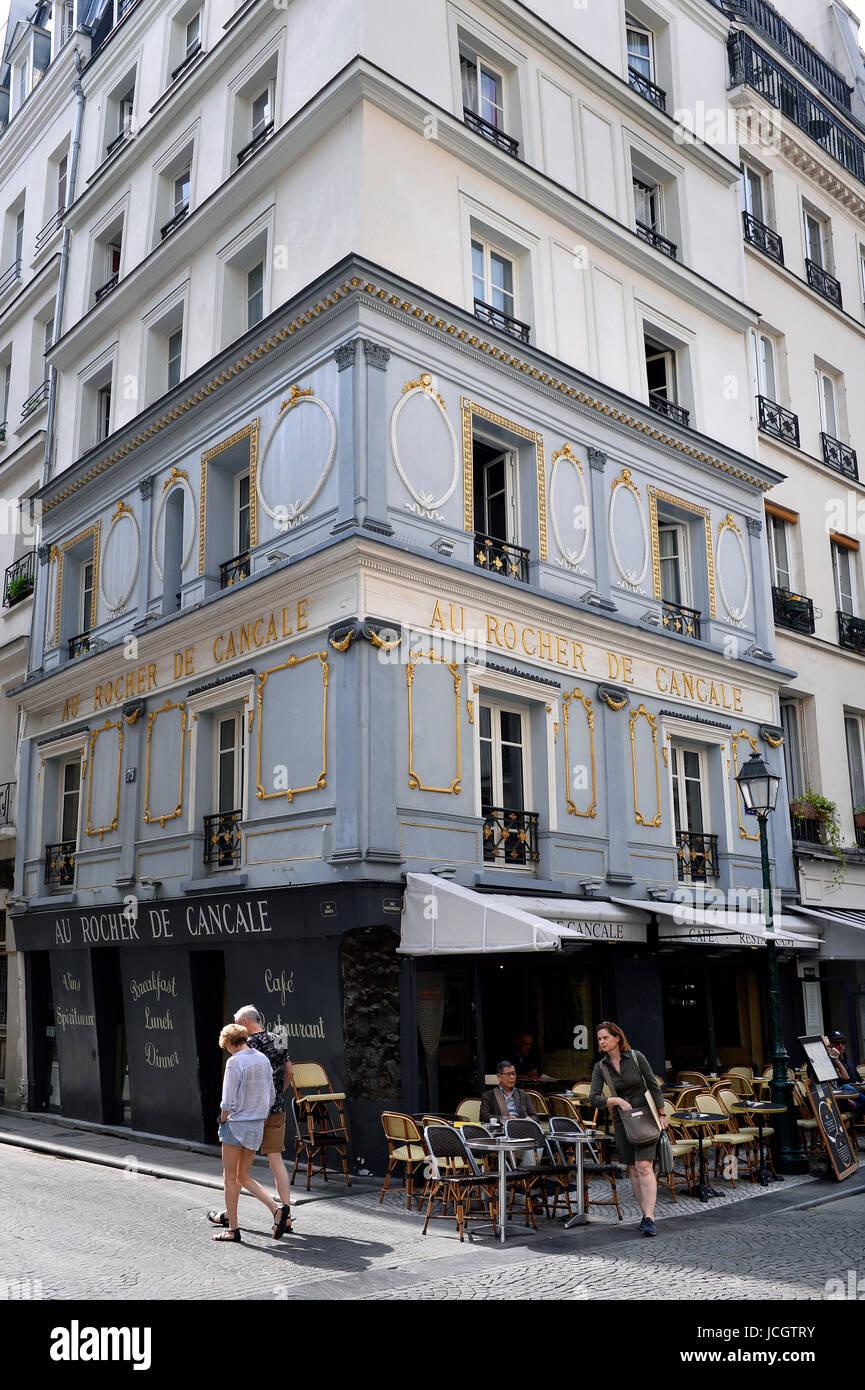 Au Rocher de Cancale, rue Monyorgueil, Paris, France - Stock Image