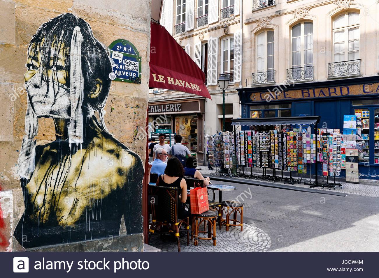 Café rue Montorgueil, Paris 2th, France - Stock Image