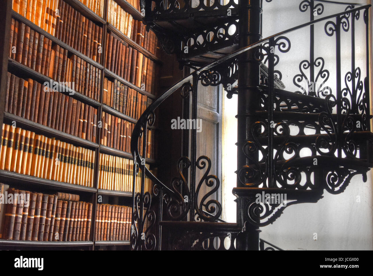 Dublin, Ireland - May 30, 2017: The Long Room in the Old Library at Trinity College Dublin. - Stock Image