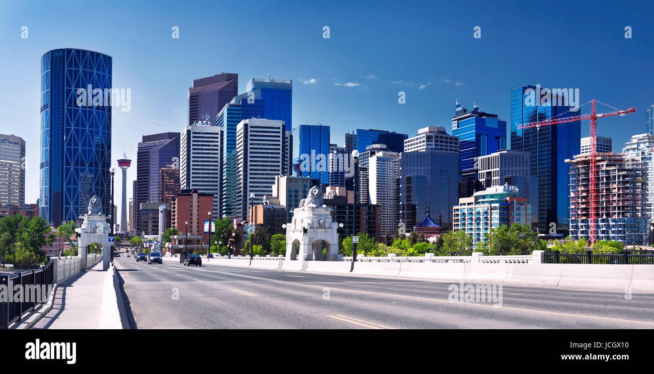 Calgary city downtown skyline panoramic view from Centre Street Bridge. Calgary, Alberta, Canada 2017. - Stock Image