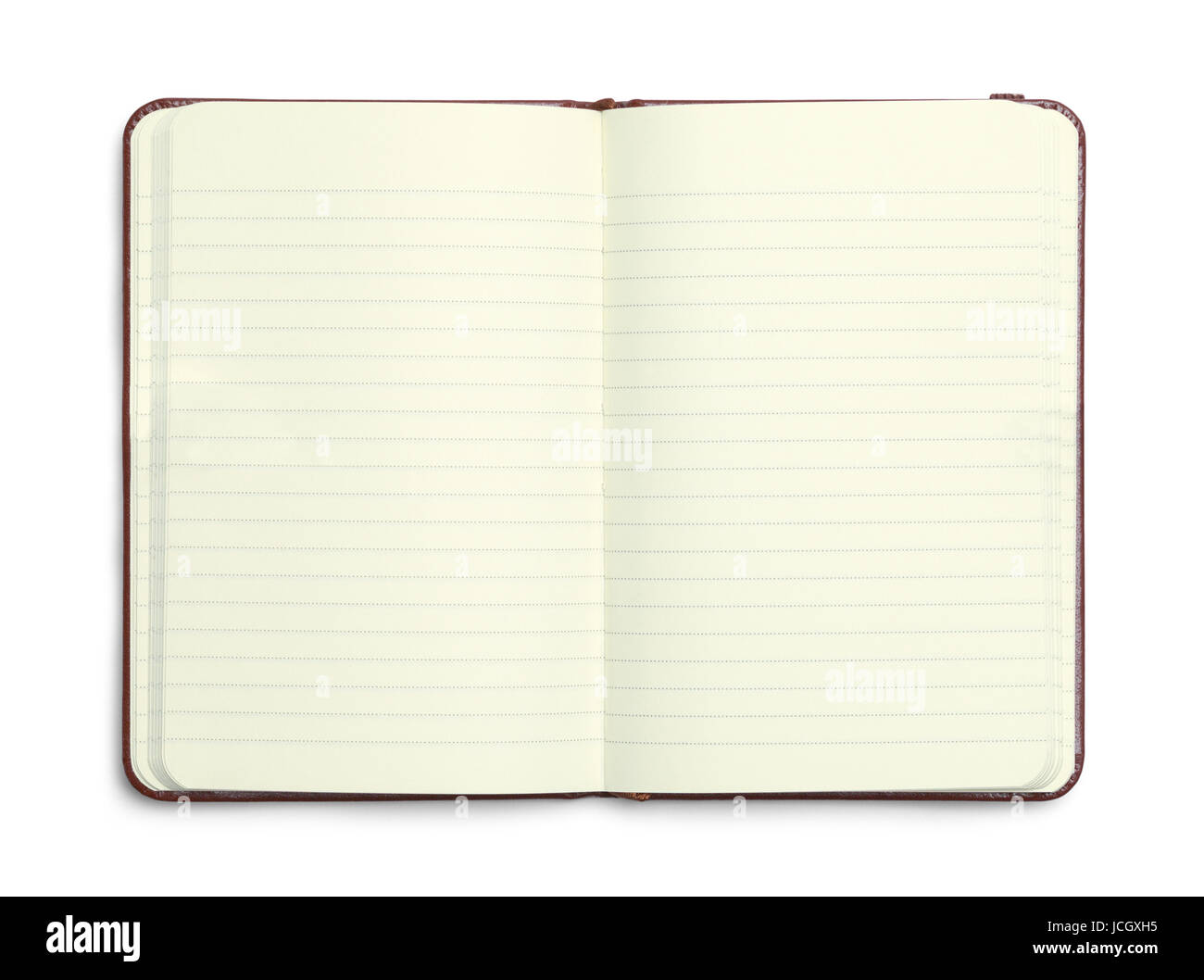 Open Brown Leather Journal Isolated on White Background. - Stock Image