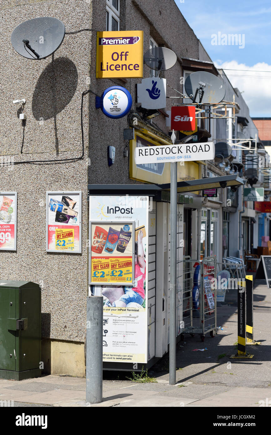 Inpost service in Sutton Road, Redstock Road Southend on Sea, Essex. Sign board. Space for copy - Stock Image
