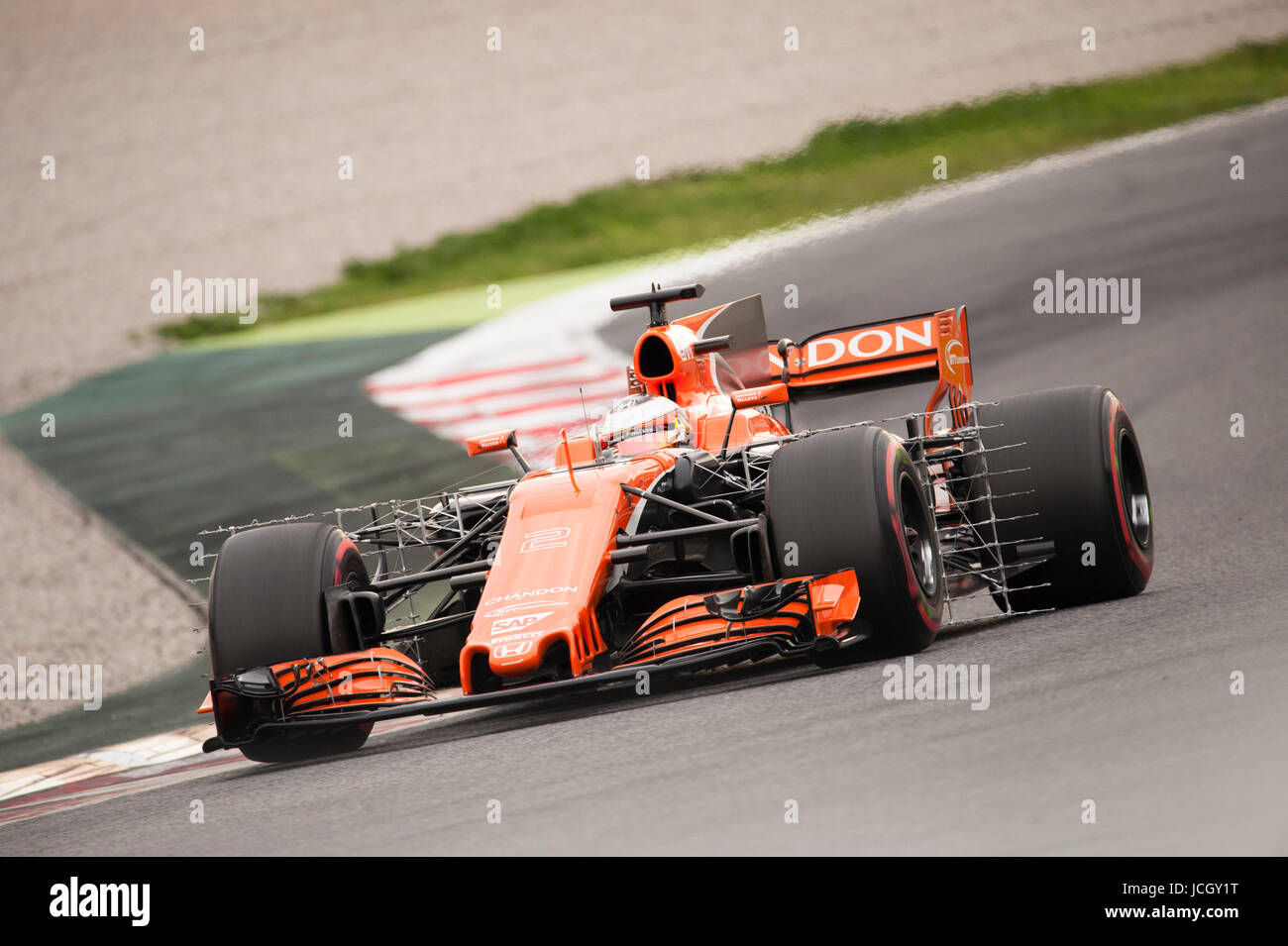 Stoffel Vandoorne, driver of the Mclaren Team in action during the 2nd day of the Formula 1 Test at the Circuit - Stock Image