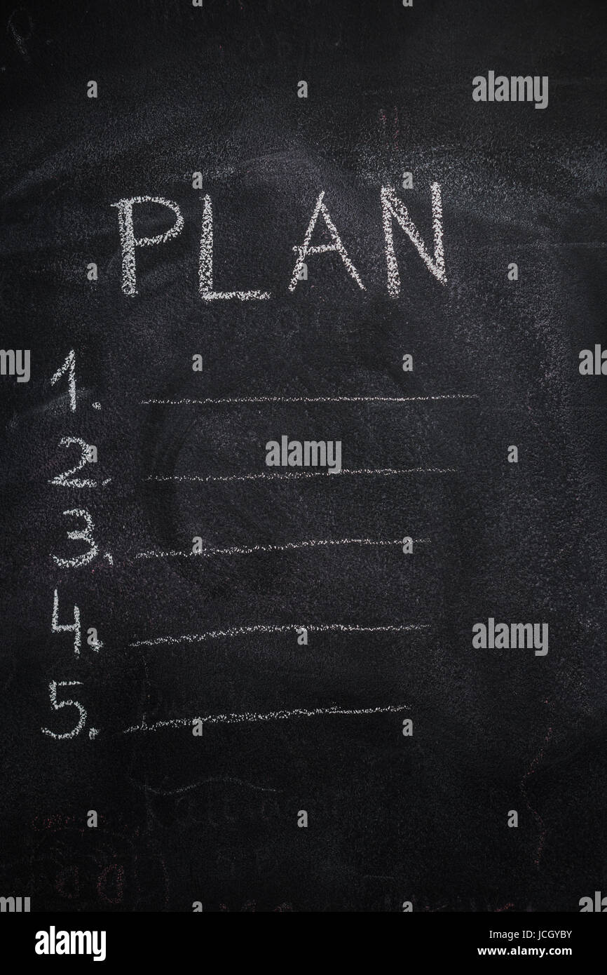 Plan list written with white chalk on blackboard. To do list concept - Stock Image