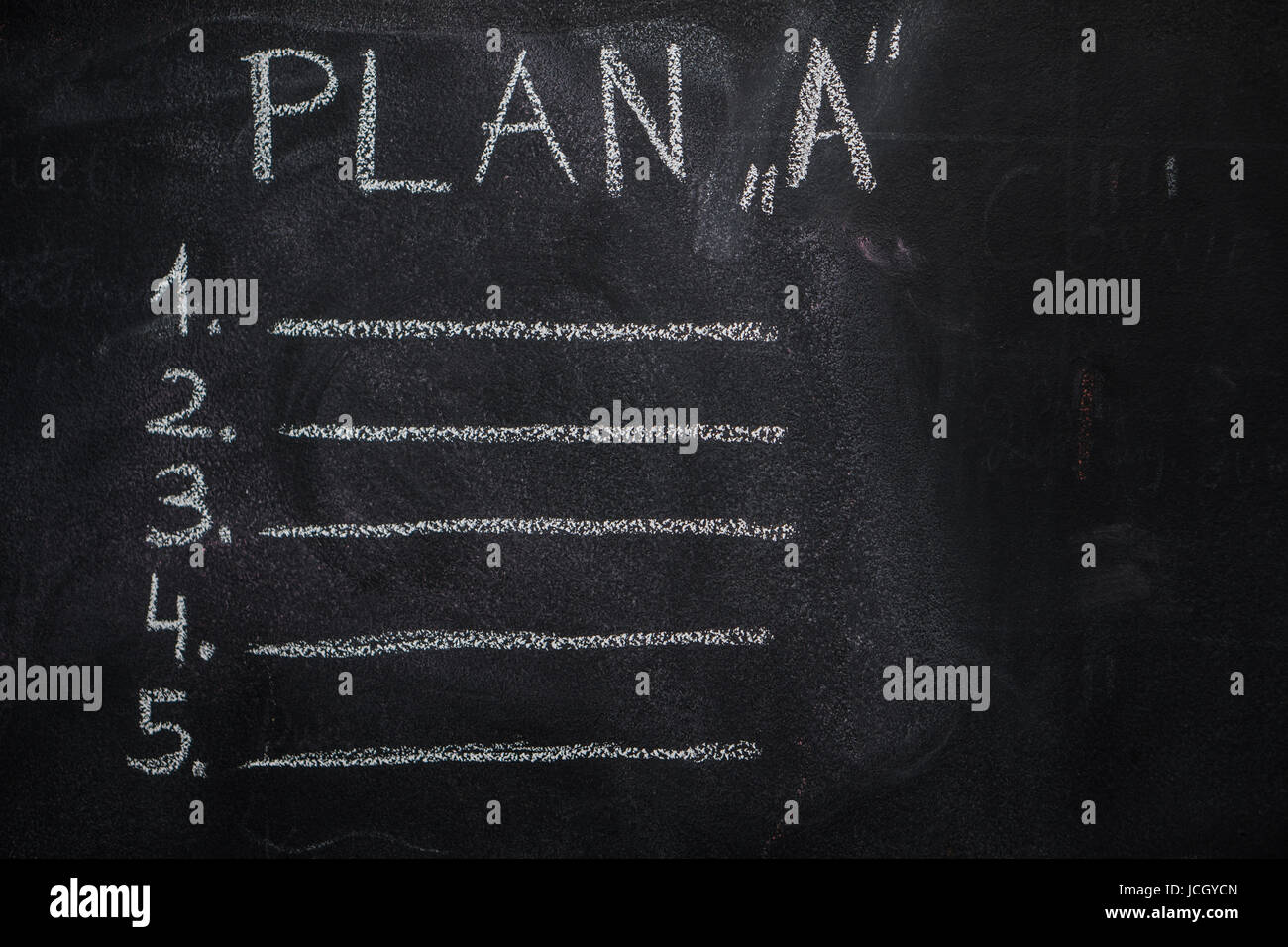 Plan 'A' list written with white chalk on blackboard. To do list concept - Stock Image