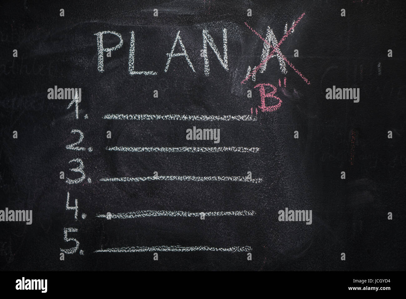 Plan 'A' list and 'B' written with white chalk on blackboard. To do list concept - Stock Image