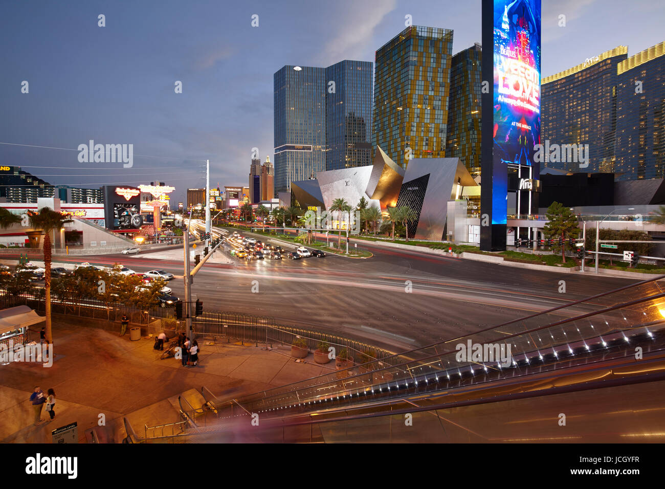 Las Vegas Boulevard at night, Nevada, United States - Stock Image