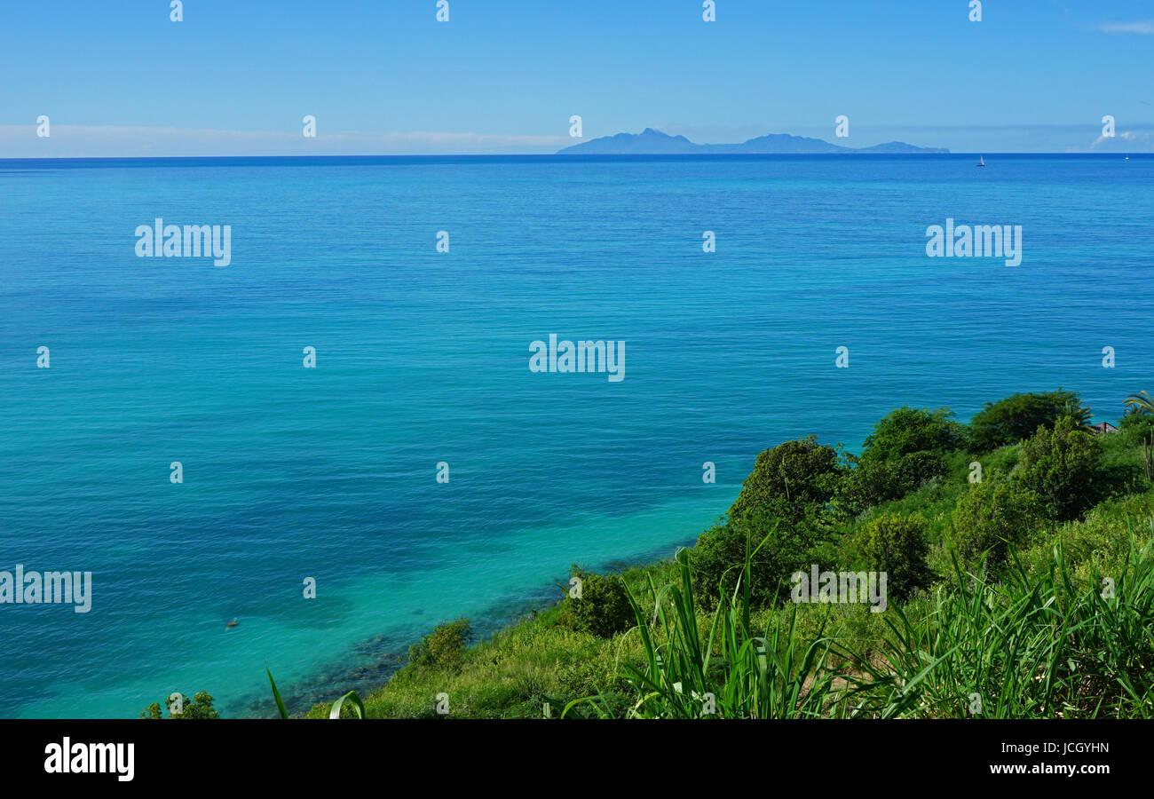 Montserrat from Reeds Point, Antigua - Stock Image