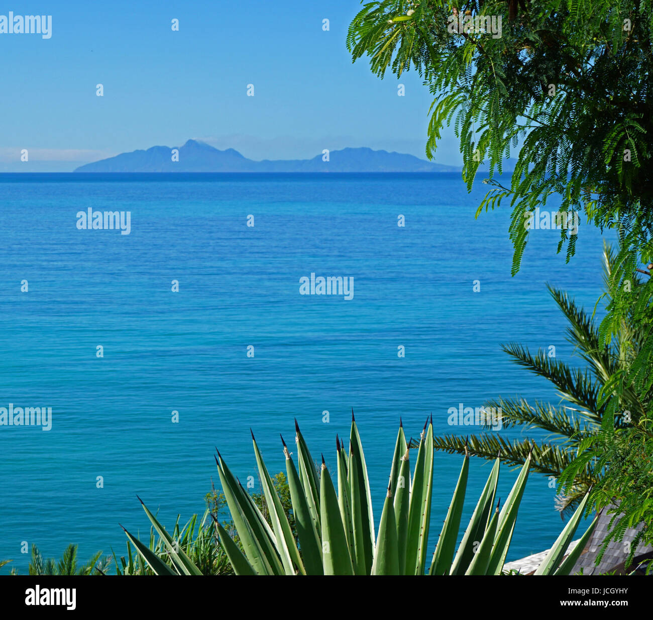 Montserrat from Reeds Point, Jolly Harbour - Stock Image