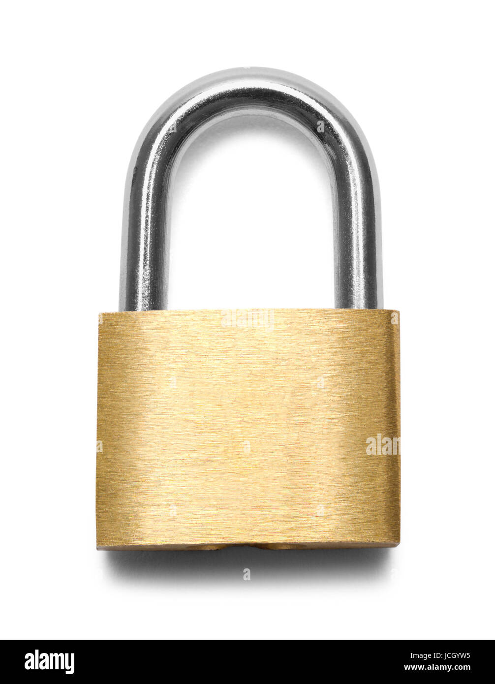 Closed Brass Padlock Isolated on White Background. - Stock Image