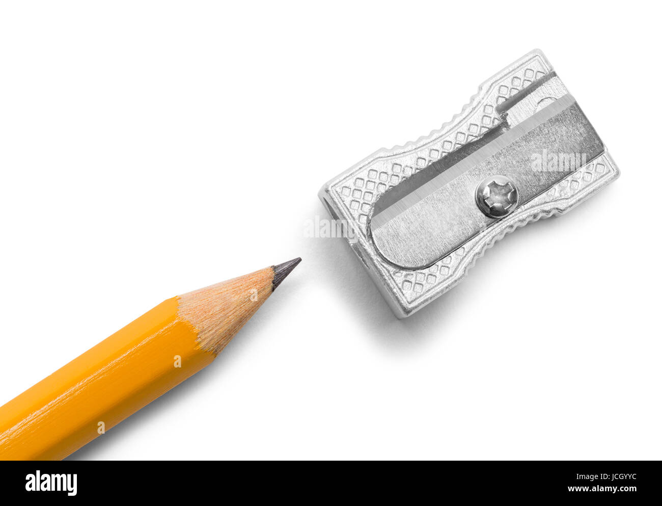 Metal Pencil Sharpener and Pencil Isolated on White Background. - Stock Image