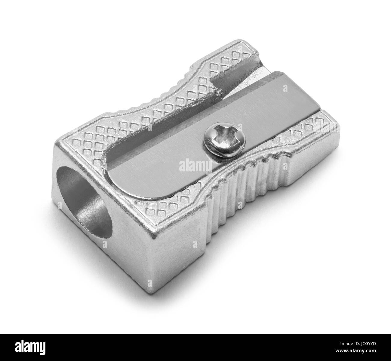 Metal Pencil Sharpener Isolated on White Background. - Stock Image