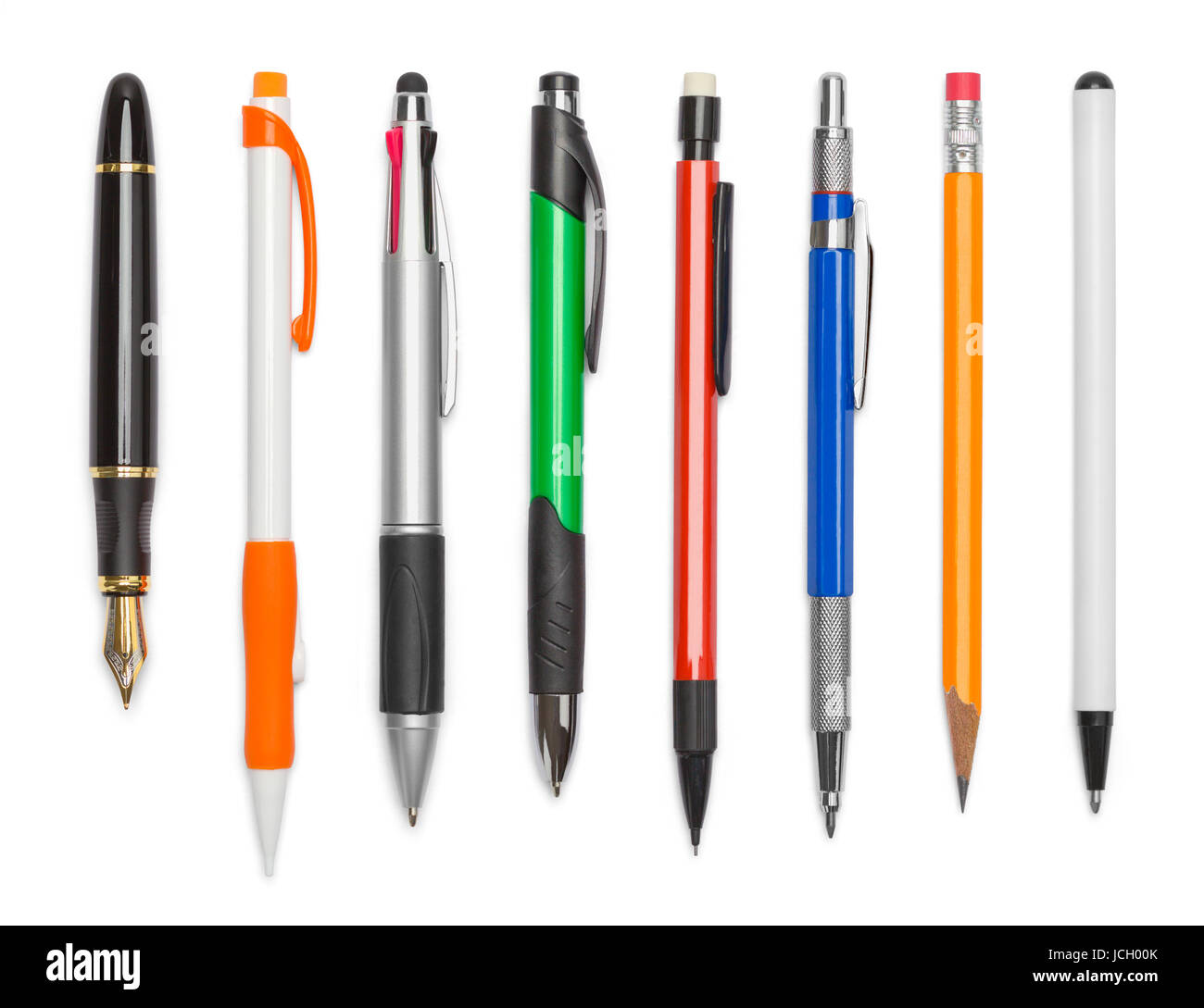 Various Pens and Pencils Isolated on White Background. Stock Photo
