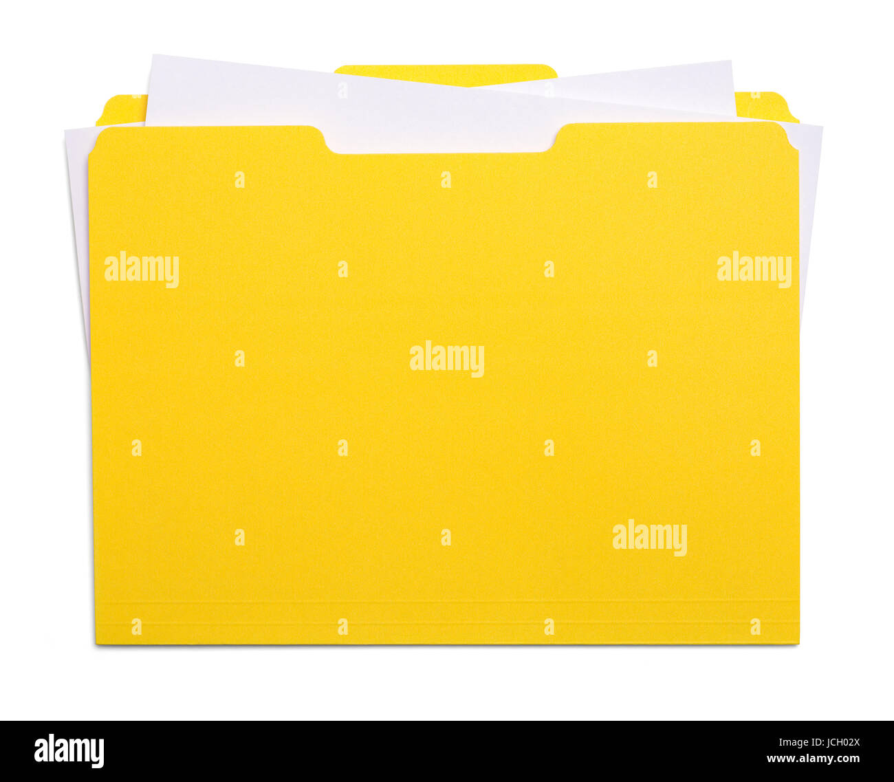 Yellow File Folder with Papers Isolated on White Background. - Stock Image