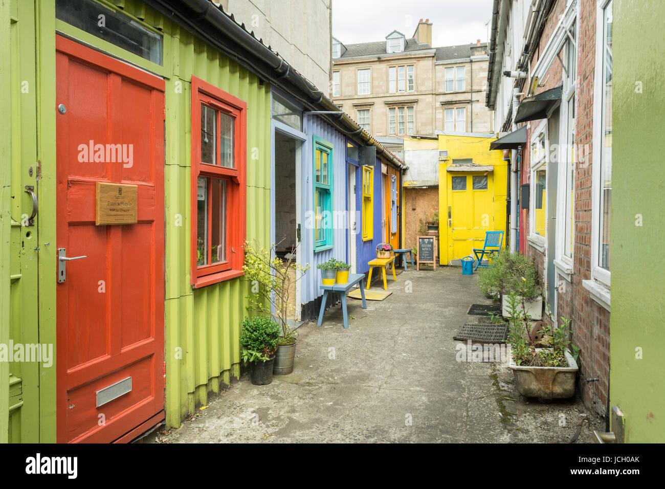 The Hidden Lane, artists community and studios, Argyle Street, Finnieston, Glasgow, Scotland, UK - Stock Image